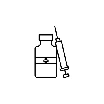 Drug, medication, injection, icon. Element of anti aging outline icon for mobile concept and web apps. Thin line Drug, medication, injection, icon can be used for web and mobile