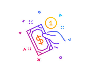 Payment method line icon. Give cash money sign. Gradient line button. Payment method icon design. Colorful geometric shapes. Vector