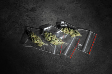 Dried hemp in plastic bags on grey background, top view