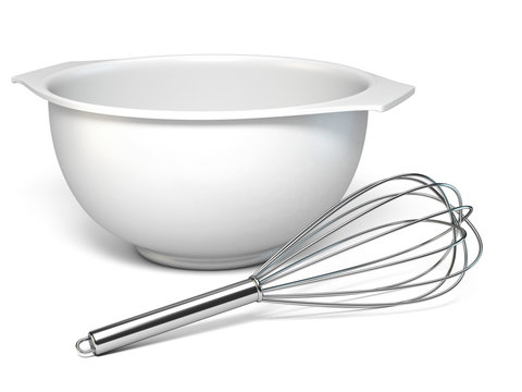 White plastic bowl and metal whisk 3D