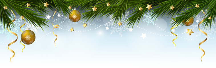 Christmas, New Year border with branches of a Christmas tree, snowflakes and stars. Vector illustration.