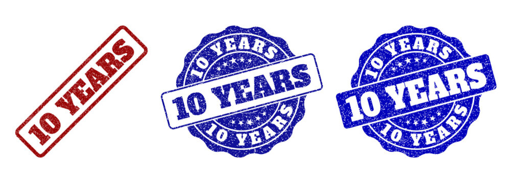 10 YEARS grunge stamp seals in red and blue colors. Vector 10 YEARS labels with grunge style. Graphic elements are rounded rectangles, rosettes, circles and text labels.