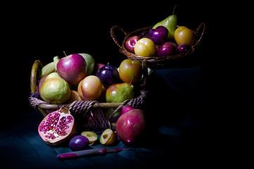 Cibo - frutta - estate - rosso - melagrana - pera