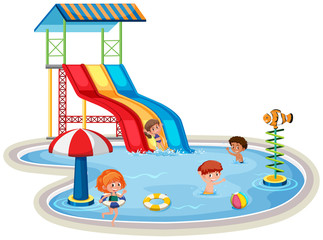 Children at isolated water park