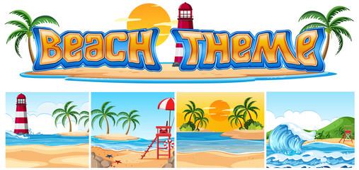 Set of beach theme landscape