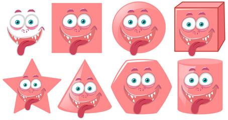 Monster face on diffrent shape