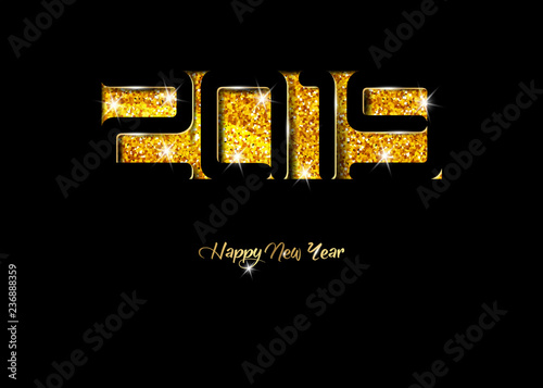 2019 happy new year card in black paper cut style seasonal holidays flyers greetings