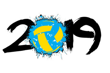 Number 2019 and a volleyball ball from blots