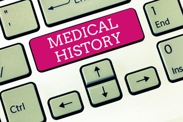 Handwriting text Medical History. Concept meaning the past background of a demonstrating in terms of health.