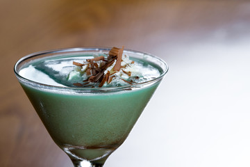 grasshopper cocktail in a martini glass
