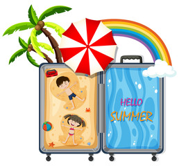 A luggage with beach travel