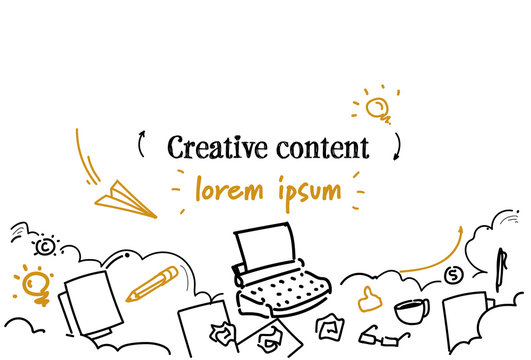 creative content marketing concept sketch doodle horizontal isolated copy space vector illustration