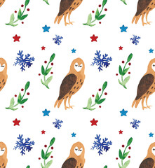 Christmas Watercolor beautiful seamless pattern with owls, snowflakes, and brunch with decor. Holidays decorative prints for textile, paper, cards etc.