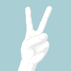 Vector drawn gesture symbol,Victory gesture.Isolated on blue background.