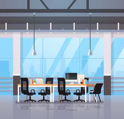 modern office interior workplace desk creative co-working center workspace cityscape background flat