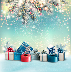 Christmas holiday background with colorful gift boxes and branch of tree. Vector.