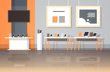 modern technology store interior digital computer laptop tv screen smartphone electronic gadgets market flat horizontal