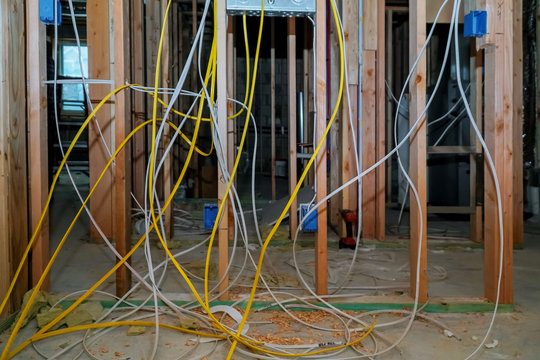 New electric installation at wooden house.