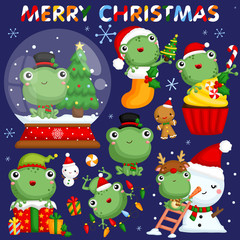 A vector set of cute little frogs in various poses and costume for christmas celebration