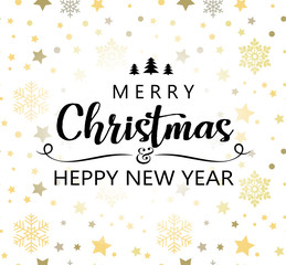 Merry Christmas and Happy New Year greeting card with abstract pattern.