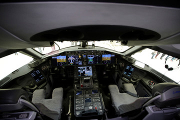 The cockpit of the Mexican Air Force Presidential Boeing 787-8 Dreamliner is pictured during a media tour before is put up for sale by Mexico's new President Andres Manuel Lopez Obrador, at Benito Juarez International Airport in Mexico City