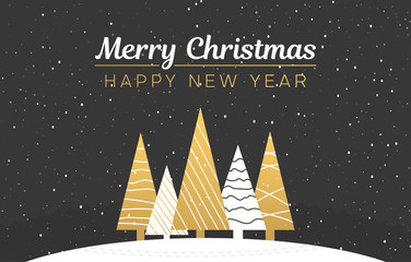 Merry Christmas and Happy New Year card with abstract golden Christmas trees and snow.