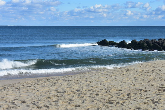 Waves Crashing on Beach at Long Branch, New Jersey -5