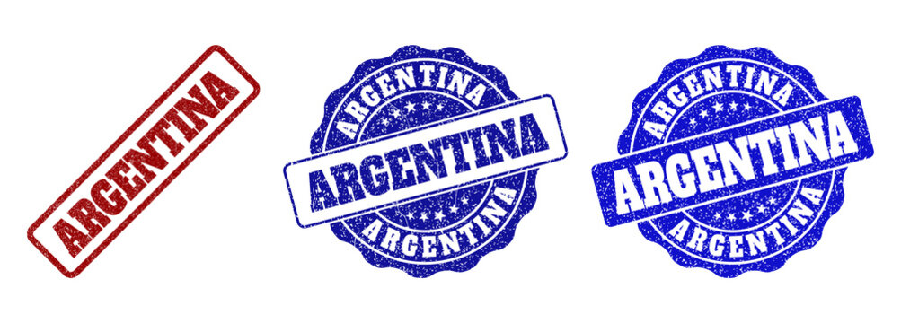 ARGENTINA grunge stamp seals in red and blue colors. Vector ARGENTINA labels with dirty surface. Graphic elements are rounded rectangles, rosettes, circles and text labels.