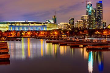 Chicago skyline at blue hour