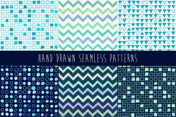 Set of abstract hand drawn patterns. Vector illustration.