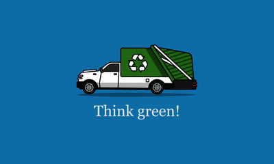 Think Green Environmental Quote with Recycle Truck Illustration