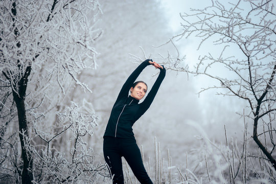 Winter Sports Jogger Girl Stretching for Training