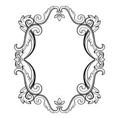 Ornamental vintage frame. Vector illustration in black and white colors