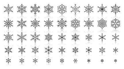 Snowflake simple black line icons vector set