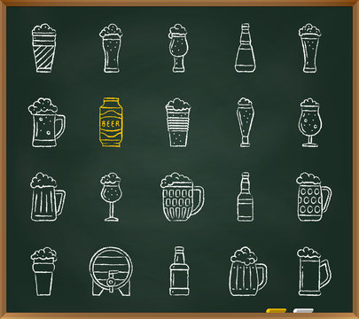 Beer Mug chalk draw line icons vector set