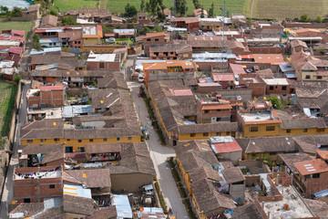 Aerial view of houese in Ollantaytambo of Peru