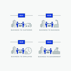 Business relations icon set. B2B, B2C, B2E & B2G  - business to business, business to customer, business to government, business to employee. Line icons with editable stroke.