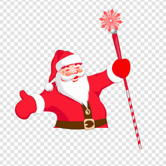 Silhouette of Santa Claus with a staff.