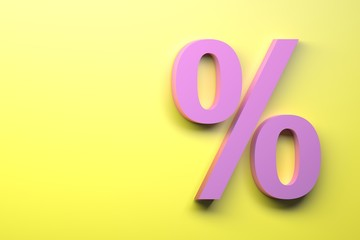 Pink percent sign on the yellow background. Image with copy blank space. 3d illustration.