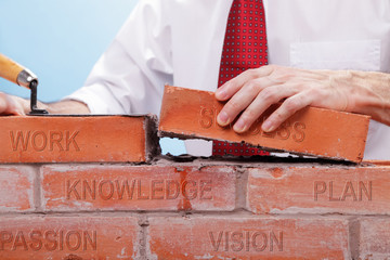 Businessman building a wall with bricks that have differents concepts printed on them. Concept for building a business or project..