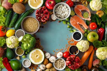 Top view frame healthy food diet food menu restaurant
