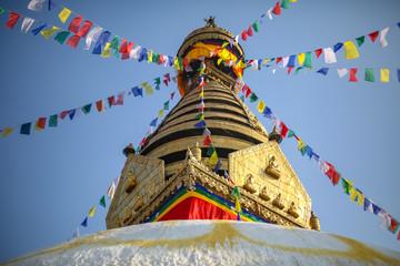 Pinnacle of Swayambahunath Stupa in Kathmandu, Nepal. A UNESCO World Heritage Site.
