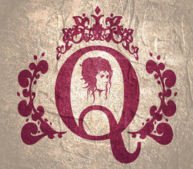 Vintage queen silhouette. Medieval queen profile. Elegant silhouette of a female head. Short hair. Royal emblem with Q letter decorated by floral pattern