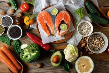 Top view healthy food cooking healthy diet food Healthy food