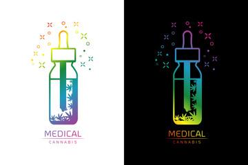 Cannabis oil logo template Vector illustration