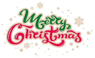 Merry Christmas. Lettering text for greeting card