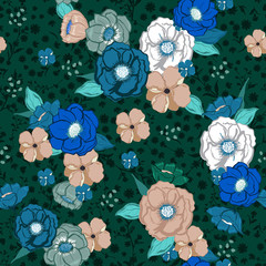 Stylish in the  garden night Hand drawn sweet colorful summer blooming flowers on dark green florals background and texture