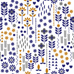 Beautiful retro Vector geometric flower pattern. Seamless cute spring or summer floral pattern