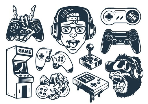 Vintage monochrome gaming set
