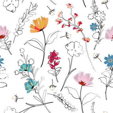 Trendy bright Summer blooming garden outline and hand painting flowers many kind of floral in seamless pattern vector illustration